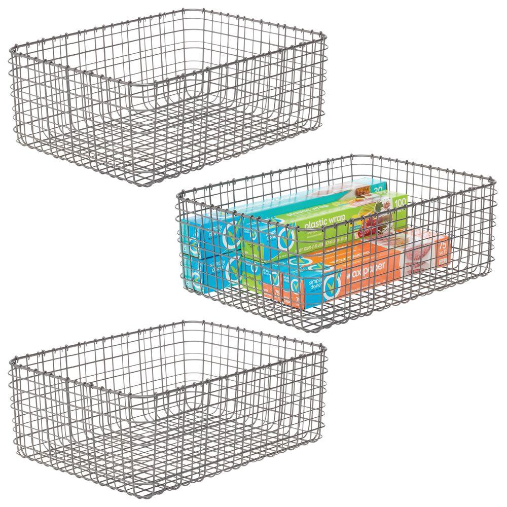 mDesign Metal Wire Kitchen Pantry Storage Organizer Bins in Graphite Gray, 16