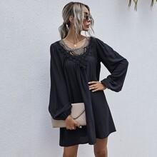 Tunika Kleid mit Kontrast Guipure Spitze und Bischofaermeln