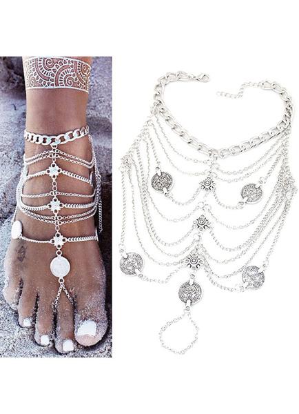 Milanoo Beach Wedding Footwear Silver Beach Anklet Women's Vintage Layered Chain Ankle Bracelet