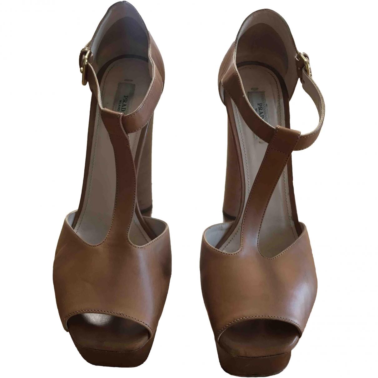 Prada \N Beige Leather Sandals for Women 40.5 EU