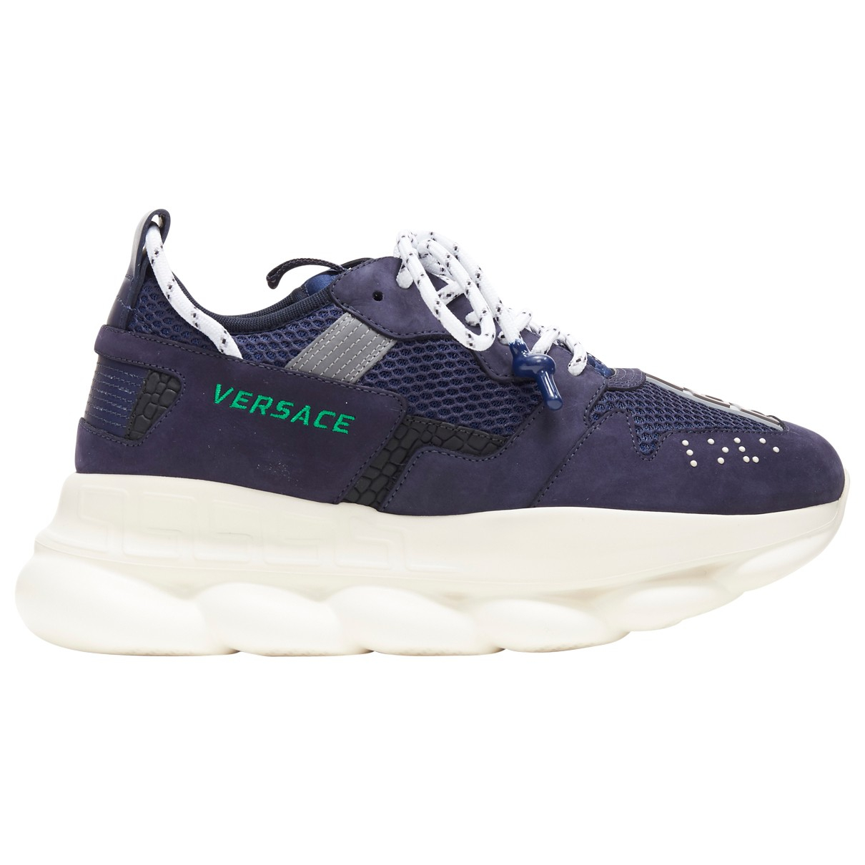 Versace Chain Reaction Navy Suede Trainers for Men 45 EU