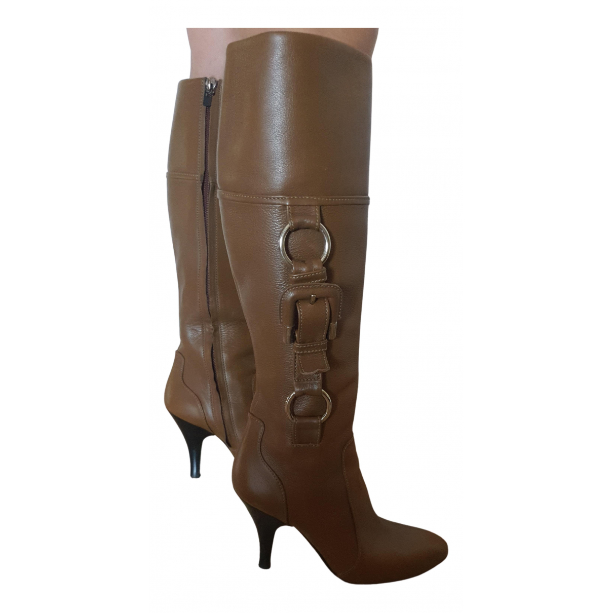 Burberry - Bottes   pour femme en cuir - marron