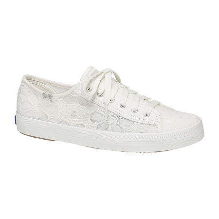 Keds Womens Kickstart Floral Lace-Up Sneakers, 7 Medium, White