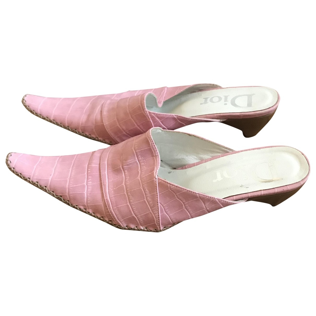 Dior \N Pink Leather Sandals for Women 40 EU