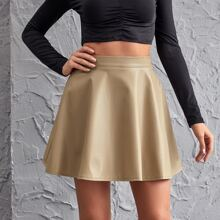 Zip Back Leather Look Flare Skirt