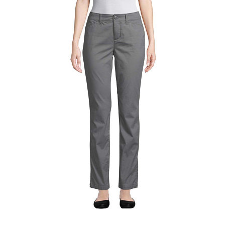 St. John's Bay Womens Mid Rise Straight Flat Front Pant, 18 , Gray