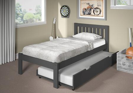 36SB601-DG-TR Dylan Twin Single Bed in Dark Gray with Trundle