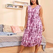 Plus Tie Dye Ruched Tie Side Night Dress