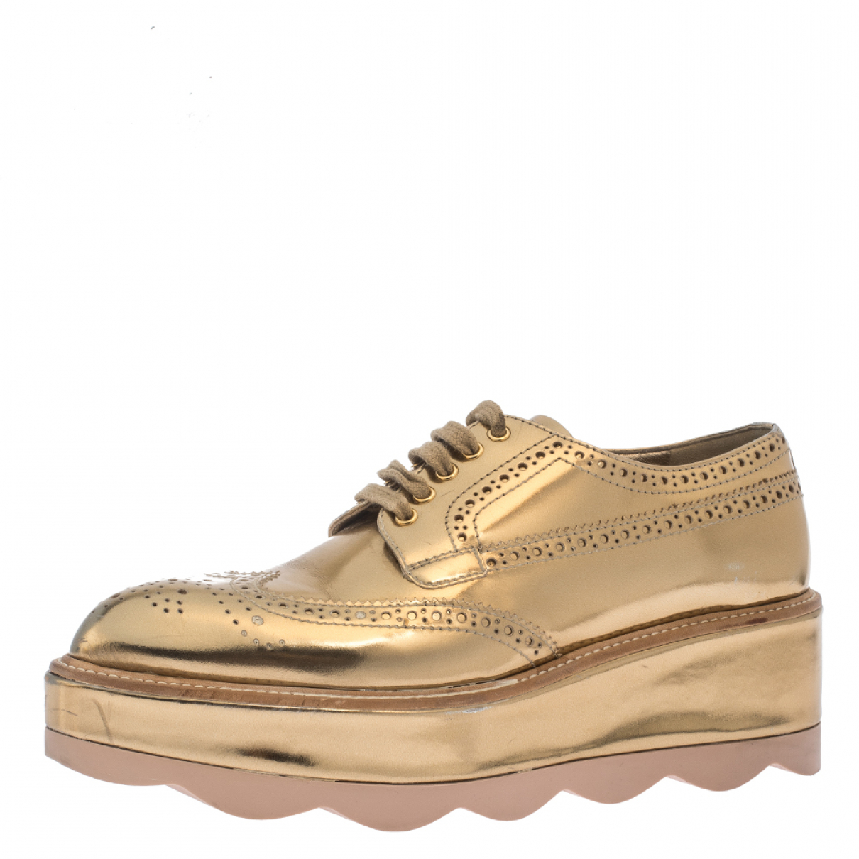 Prada \N Gold Leather Flats for Women 7 US