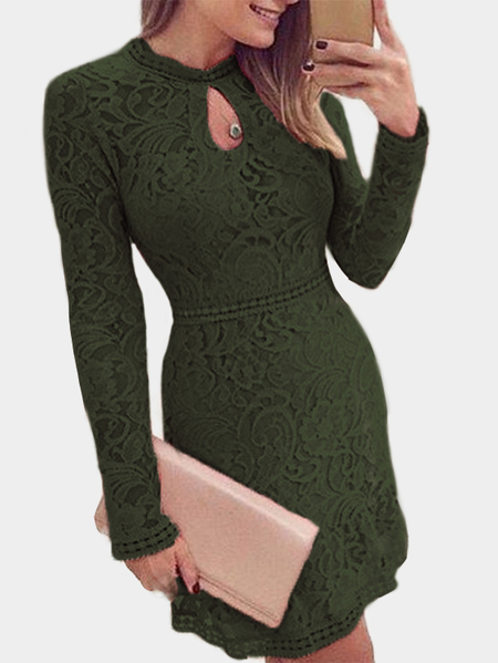 Yoins Army Green Lace Crew Neck Long Sleeves Dress