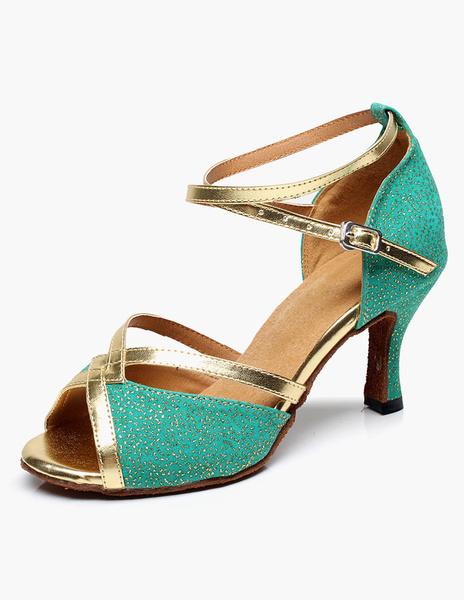 Milanoo Brillo zapatos de salon puntera abierta