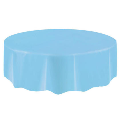 Party Plastic Table Cover Round, Powder Blue 84