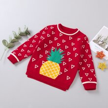 Pullover mit Geo & Ananas Muster