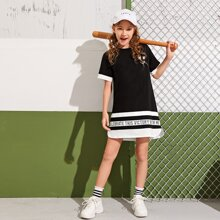 Girls Curved Hem Slogan and Striped Dress