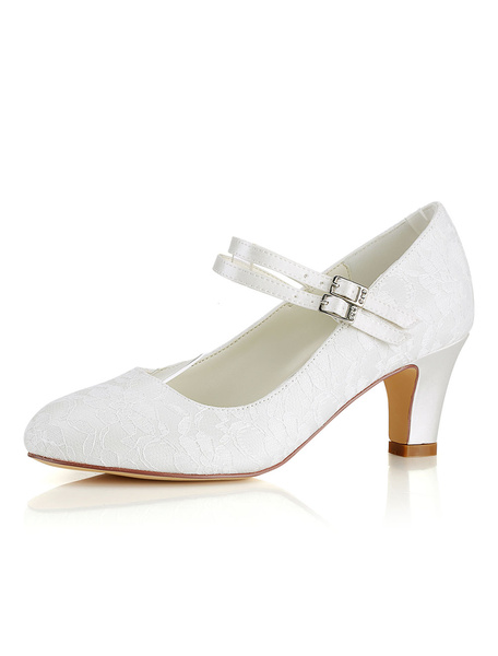 Milanoo Silk Wedding Shoes Vintage Round Toe Mary Jane Bridal Shoes Ivory Wedding Guest Shoes