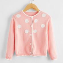 Toddler Girls Polka Dot Button Front Cardigan