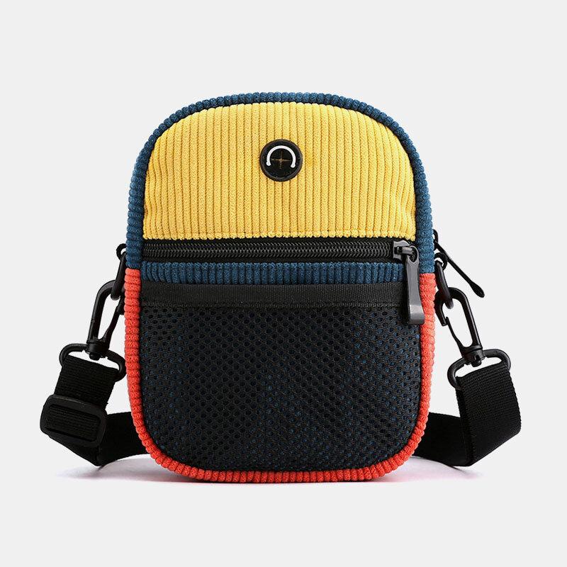 Men Women Vintage Earphone Hole Patchwork Corduroy Multi-pocket Phone Bag Crossbody Bag