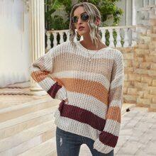 Colorblock Drop Shoulder Open Knit Sweater
