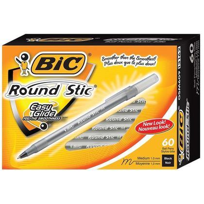 BIC@ Round Stic@ valeur suppl ementaire 1.0mm stylos a bille, noir - 12/ Boite 660563