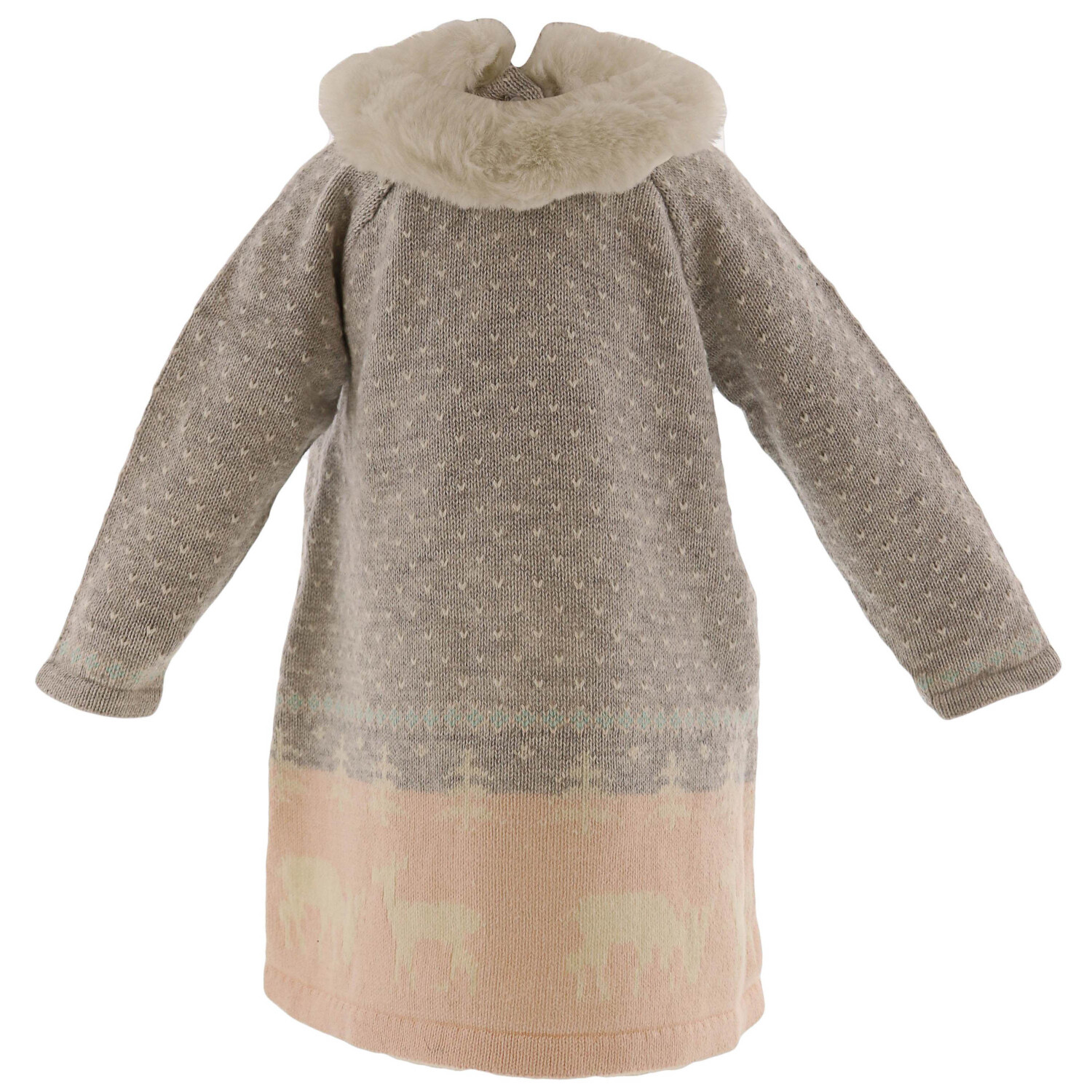 Janie And Jack Girl's Grey Deer Sweater Dress - 3-6 Months