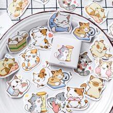 45pcs Cartoon Cat Print Sticker