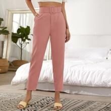 Pantalones Bolsillo Liso Rosa vieja Elegante