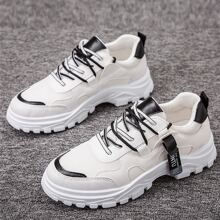 Men Lace Up Front Mesh Panel Sneakers