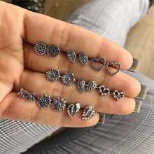 Heart & Flower Stud Earrings 9pairs