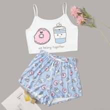 Conjunto de pijama de tirante con estampado de dibujos animados y letra