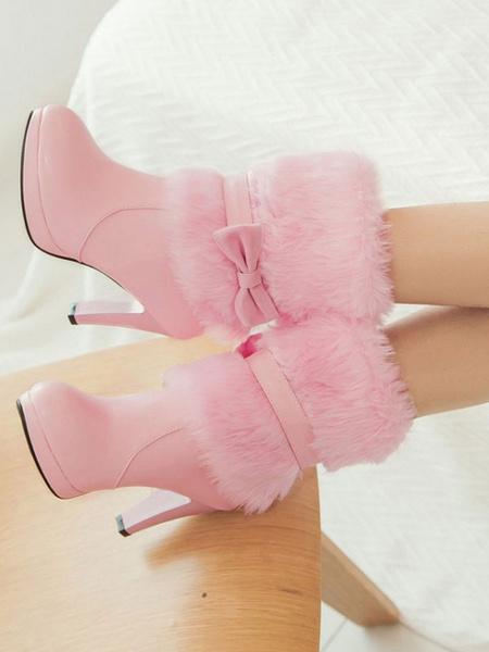 Milanoo High Heel Lolita Boots Bows Faux Fur Lolita Footwear