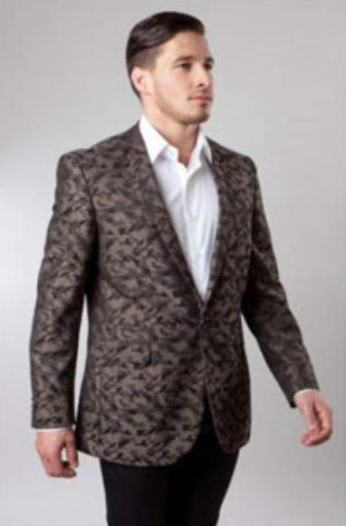 1 Button Brown Single Notch Pattern Jacket Side Vents Slim Fit