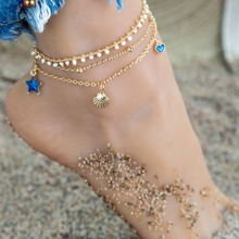 Heart Shell Starfish Anklet