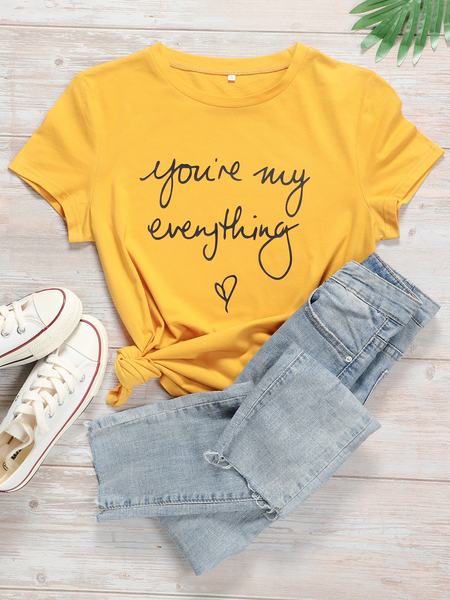 Yoins Plus Size Letter Short Sleeves Tee