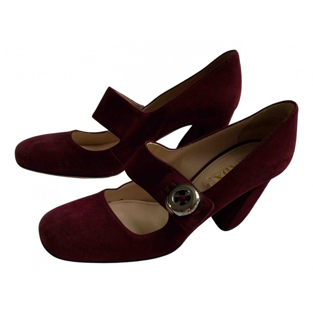 Prada N Burgundy Suede Sandals for Women 38.5 EU