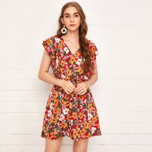 Tied Open Back Ruffle Armhole Floral Dress
