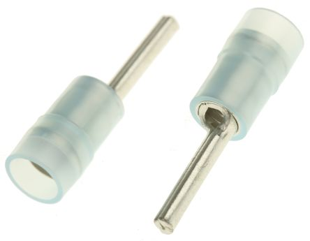 RS PRO Insulated Crimp Pin Connector, 1.5mm² to 2.5mm², 16AWG to 14AWG, 1.9mm Pin Diameter, 12mm Pin Length, Blue (100)
