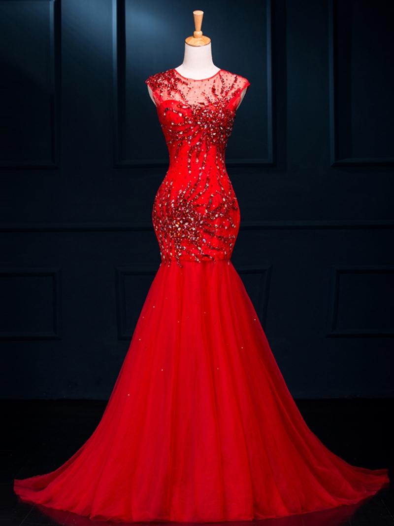 Ericdress Round Neck Beading Mermaid Red Evening Dress