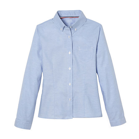 French Toast Little & Big Girls Long Sleeve Button-Down Shirt, 18 , Blue