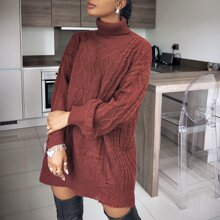 Rolled Neck Drop Shoulder Ripped Detail Cable Knit Longline Sweater