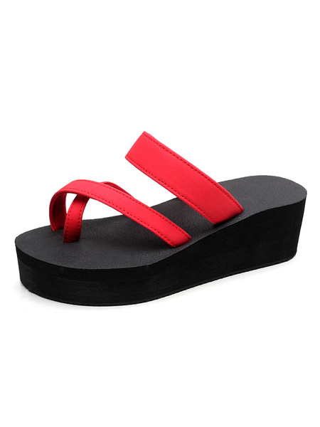 Milanoo Women Red Sandals Open Toe Platform Beach Sandals Sandal Slippers