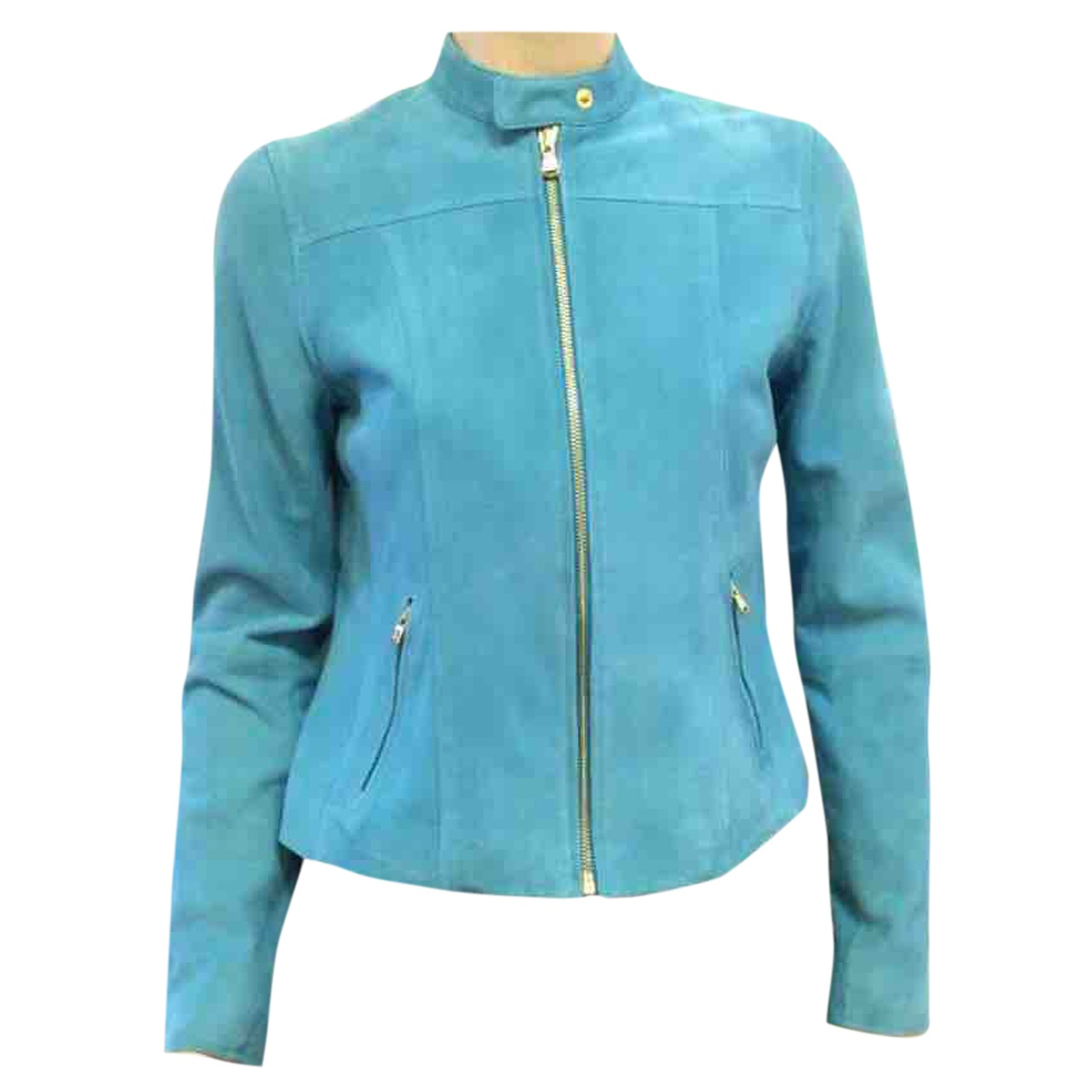 Lauren Ralph Lauren - Veste   pour femme en cuir - bleu