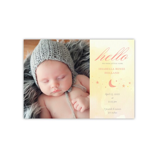 20 Pack of Gartner Studios® Personalized Ethereal Flat Baby Announcement in Yellow | 5 x 7 | Michaels®