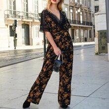 Floral Print Guipure Lace Trim Wide Leg Jumpsuit