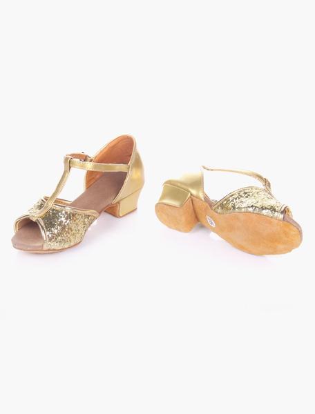 Milanoo Glitter Ballroom Dance Shoes 2020 Open Toe Soft Sole Latin Dancing Shoes For Kids