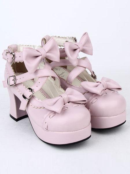 Milanoo Blanco arcos de la PU Lolita zapatos para mujeres