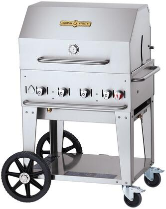 CV-MCB-30RDP-NG 30 Natural Gas Mobile Grill with Roll Dome Hood  64500 BTU Capacity  Four Stainless Steel Burners  Two Locking Casters and Bun Rack