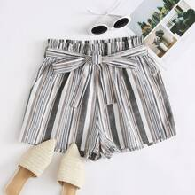 Vertical Striped Self Tie Paperbag Shorts