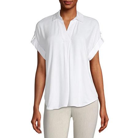 Liz Claiborne Womens Short Sleeve Twill Blouse, Xx-large , White