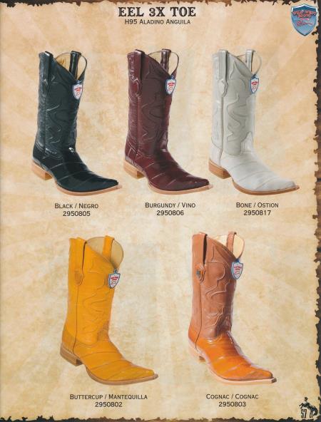 XXXToe Genuine Eel Mens Cowboy Western Boots Diff. Colors/Sizes