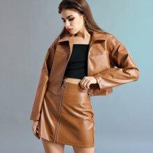 Zip Up Crocodile PU Leather Skirt